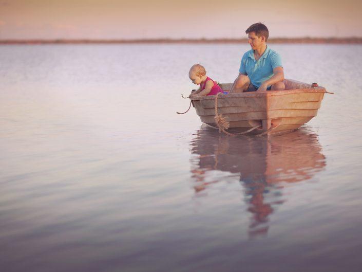 Dad baby boat