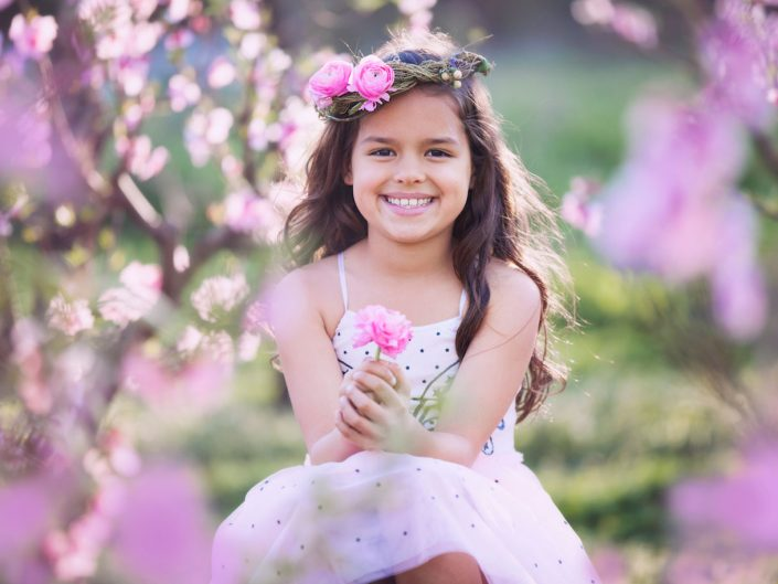 Girl in pink flowers